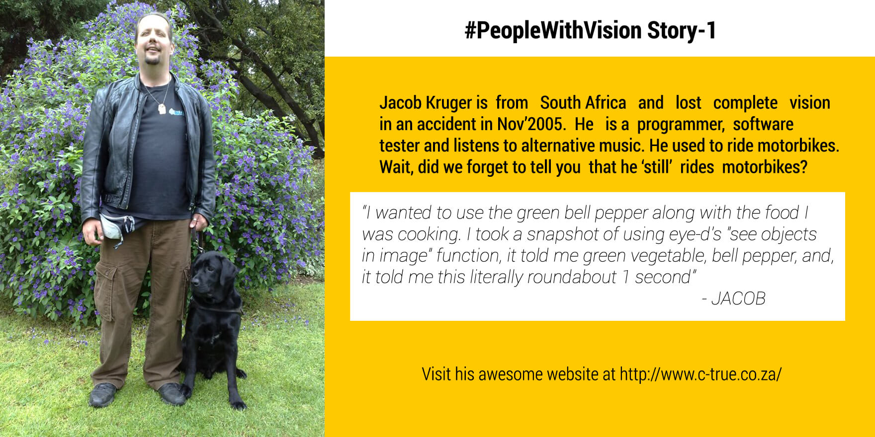 Picture shows Eye-D App user Jacob along with his guide dog on left, on the right is an instance how Jacob leveraged the Eye-D App's See Object feature to pick Green bell pepper for his dish